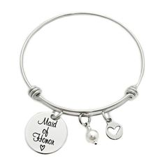CustomCharms Maryland State Expandable Wire Charm Bracelet Bangle w//Black Color Crystals