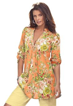 English Floral Bigshirt | Plus Size Tops and Tees | Roamans