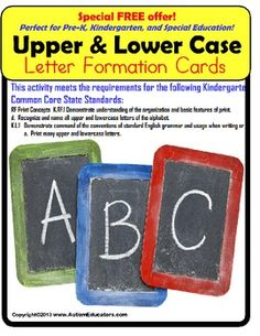 FREE!  Upper and Lowercase Letter Formation Writing Guide Kindergarten Common Core***For easy classroom use, it is suggested that you print this activity on card stock paper - available at Walmart, Target or your local office supply store.***This FREE writing guide is perfect for Kindergarten students to practice correct letter formation!