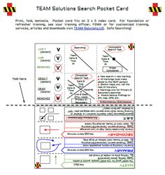 Pocket Card for Search & Rescue.  Free printable download. #response