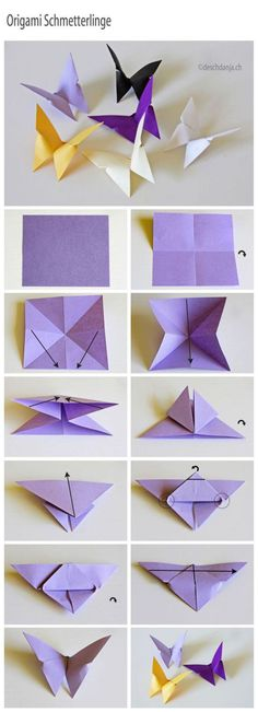 How to Fold a square piece of paper in a few steps decorative butterflies.