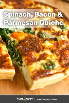 Spinach, Bacon & Parmesan Quiche Spinach, Bacon & Parmesan Quiche,Recipes This easy and filling spinach, bacon and parmesan quiche is sure to become a regular in your dinner rotation. Quiche Recipes, Brunch Recipes, Wine Recipes, Gourmet Recipes, Breakfast Recipes, Vegetarian Recipes, Cooking Recipes, Healthy Recipes, Breakfast Quiche