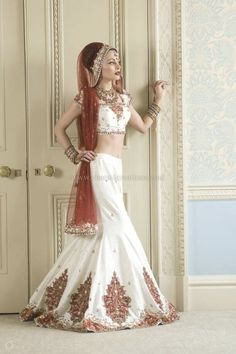 Indian Bridal Dresses - Off white raw silk 8 panelled wedding outfit with deep red patchwork and red net dupatta Asian Wedding Dress, Wedding Dresses Uk, Indian Wedding Outfits, Bridal Outfits, Designer Wedding Dresses, Wedding Attire, Bridal Dresses, Bridal Lenghas, Indian Weddings