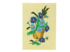 Vintage Floral Crewel Blue Flowers Yellow by EclecticEmbrace