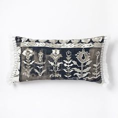 Border Fragment Pillow Cover - New Charcoal