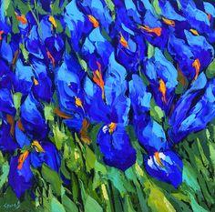 Irissen - € 273,- blauwe olie PALETMES schilderij op doek door Dmitry Spiros. 32 x 32 inch (80 x 80 cm)