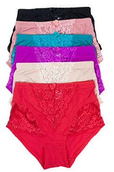 0d968af3b2e Barbra s 6 Pack Satin Full Coverage Women s Panties at Amazon Women s  Clothing store