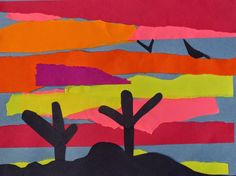 Mr. O's Art Room: 1st Grade Desert Sunset Collages