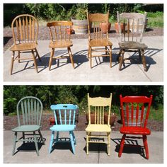 Found mismatched chairs at a local thrift store (the furthest right chair was only $1.99), sanded down, and spray painted to create chic patio furniture.