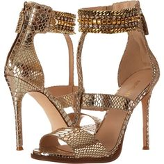 Nine West Halonia (Light Gold Metallic) High Heels ($91) ❤ liked on Polyvore featuring shoes, sandals, metallic, open toe high heel sandals, t strap high heel sandals, ankle cuff sandals, nine west and metallic gold shoes