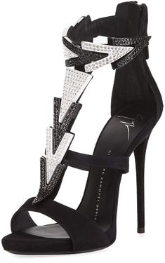 Shop High-Heel Embellished Strappy Suede Sandal from Giuseppe Zanotti at Neiman Marcus Last Call, where you'll save as much as on designer fashions. Dressy Sandals, Suede Sandals, T Strap Heels, Giuseppe Zanotti, High Heels, Clearance Sale, Neiman Marcus, Casual, Shoes