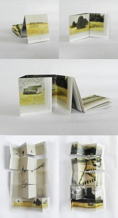 Pamphlet book that illustrates a place visited by only the mechanisms of memory. Up Book, This Is A Book, Book Art, Concertina Book, Accordion Book, Buch Design, Book Sculpture, Paper Sculptures, Paper Book