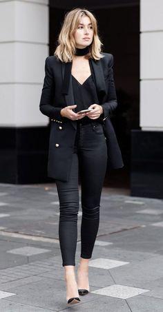 tuxedo blazer and slim scarf with skinny black jeans