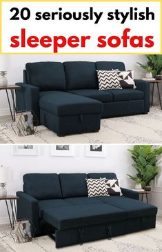 Navy sleeper sectional with storage