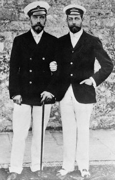 King George V and Tsar Nicholas II  (Always blown away by how much they look alike. First cousins).