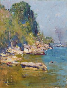 painting by Arthur Streeton, 'From my camp (Sirius Cove)', (1896)