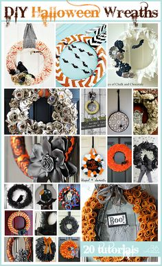 20 Halloween Wreath Tutorials at the36thavenue.com These are amazing! I love them all... Eeek!