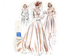 Butterick 6337 Misses 1950s Wedding Dress Pattern Full Skirt Portrait Sweetheart Neckline Bridal Gown Bust 32 Vintage Sewing Pattern. $82.50, via Etsy.