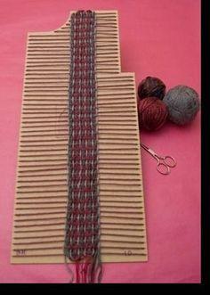 Make custom weaving shapes with cardboard. Pin Weaving, Inkle Weaving, Weaving Art, Tapestry Weaving, Weaving Textiles, Weaving Patterns, Weaving Projects, Crochet Projects, Boho Diy