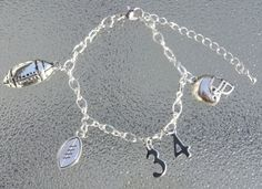 Personalized Football charm bracelet by BlueBubbleCrystals on Etsy