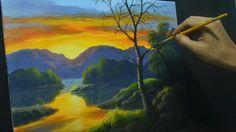Acrylic Landscape Painting Lesson - Sunset River by JMLisondra
