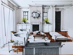 Modern interior design hand rendering - All About Decoration Interior Design Renderings, Drawing Interior, Interior Rendering, Interior Sketch, Modern Interior Design, Interior Architecture, Interior And Exterior, Interior Logo, Interior Office