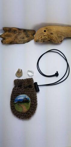 Crochet Crystal Pouch Necklace, Needle Felted Art, The Back Roads, Amulet Pouch, Medicine Bag, Festival Pouch, Alpaca, Wool Crochet Pouch, Medicine Bag, Alpaca Wool, Felt Art, Leather Cord, Needle Felting, Roads, Fiber Art, Crochet Earrings