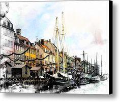 Nyhavn Harbour Impressions Canvas Print / Canvas Art By Dorothy Berry-lound #interiordecor #printforsale #Copenhagen #denmark