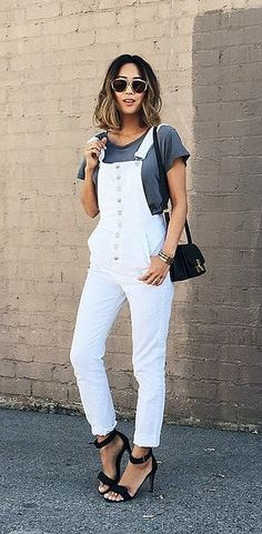 71f7b7734c19 Spring fashion is nothing without a pair of overalls. White Overalls