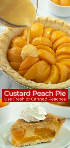 Peach Custard Pies, Fruit Custard Pie Recipe, Peach Pies, Dessert Thermomix, Köstliche Desserts, Custard Desserts, Health Desserts, Plated Desserts, Health Foods