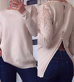 Stylish Round Collar Lace Splicing Button Design Long Sleeve Knitwear For WomenSweaters & Cardigans | RoseGal.com