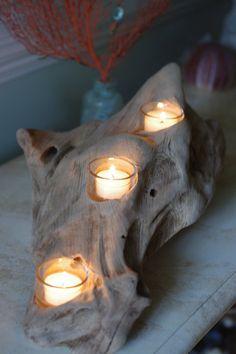 Three Candle Driftwood Votive Candle Holder by ByTheSeashoreDecor, $115.00