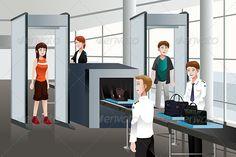 Passengers Walking Through Security Check