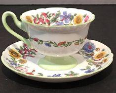 Vintage Shelley Lighter Green Floral Tea Cup And Saucer