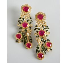 Amrapali diamond and ruby gold floral cascade earrings ~~MIND BLOWING EARINGS #iwant~~