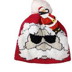 1d6799e7c9797 Duolaimi Unisex Cool Santa Claus Head Pattern Knitted Christmas Hat Beanie  Cap  Amazon.co.uk  Clothing