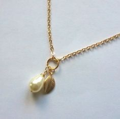 Gold Pearl Necklace w/ tiny leaf accent Wedding Jewlery by CMDetc, $26.00