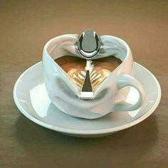 Home Brewed Cappuccino In 3 Easy Steps – Espresso Shots Ceramic Mugs, Ceramic Pottery, Ceramic Art, Coffee Cafe, Coffee Shop, Coffee Mugs, Tassen Design, Keramik Design, Cup Art