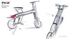 pxid  industrial design scooter 品向工业设计 平衡车设计 滑板车设计 体感车设计 老年代步工具设计 Scooter Design, Folding Bicycle, E Scooter, Industrial Design, Sketch, Urban, Creative, Kick Scooter, Sketches