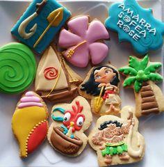 New cookies decoradas moana ideas Cookies For Kids, Fancy Cookies, Cute Cookies, Sugar Cookies, Christmas Cookies Gift, Valentines Day Cookies, Birthday Cookies, Moana Cookies, Disney Cookies