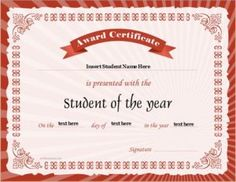 Student of the Year Award Certificate Template for MS Word DOWNLOAD at http://certificatesinn.com/student-of-the-year-award-certificates/