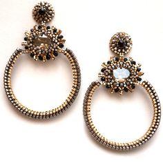 Women's Hoop Earring Ladies Gemstone Beads Jewelry Gift Accessory Swarovski Beaded by Esther Marker