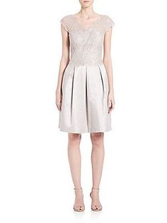 Kay Unger Illusion Lace Dress - Silver - Size