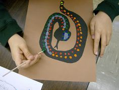 Fourth Grade Artists are studying the art of the Australian Aboriginees .  These native people of Australia use dots of paint to create the...