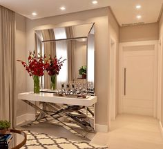 Awesome ideas for decorating the hallway with modern wall mirror designs, home interior wall mirror decor ideas for modern style apartments 2019 Home Interior Design, Foyer Design, Interior Design, House Interior, Mirror Decor, Home, Hall Decor, Interior Wall Design, Home Decor