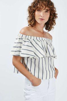 Linen Stripe Bardot Top