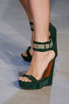 The Piccadilly shoe in lush green perforated suede, by Belstaff.