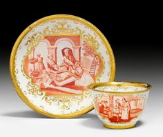 Hausmaler Cup and Saucer, Meissen, ca. 1724-1730. Painted in Augsburg by Abraham Seuter