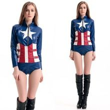 Halloween Cosplay Women Avengers Captain America Movie Performing Costume Jumpsuits Rompers Christmas Party Costume Carnaval(China (Mainland))