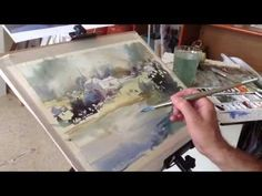 "Watercolor Tutorial ""Ostuni Panorama"" by Minh Dam Watercolor Landscape Tutorial, Watercolor Video, Watercolor Projects, Watercolour Tutorials, Watercolor Techniques, Watercolour Painting, Painting & Drawing, Watercolors, Oil Painting Lessons"